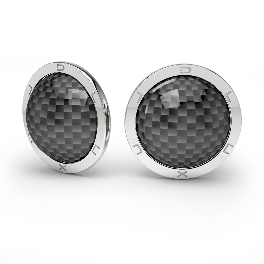 silver earrings carbon fiber