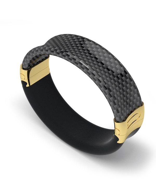 fibra carbono brazalete oro